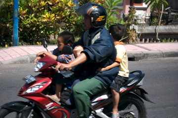 Family on bike in Bali