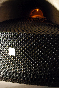 Thousands of champagne bottles at Taittinger