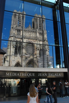 Notre Dame, Reims, France reflection from the library