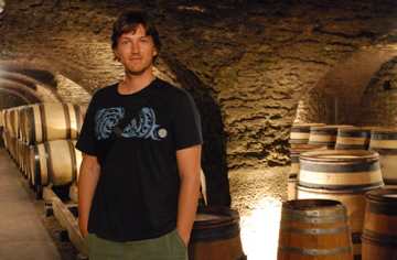 Curtis in the cellar at Ropiteau Freres