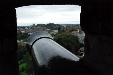 View of Edinburgh over the cannon