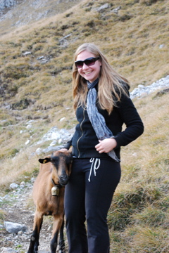 Flashpacking Wife with a friendly goat