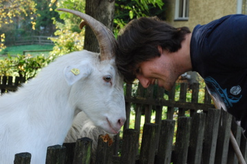 Curtis with Billy the goat