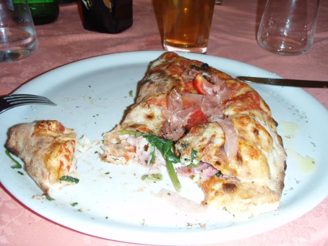 Calzone filled with parma ham and cheese